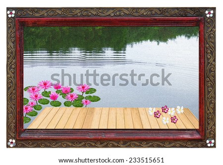 Old picture frame and natural  photo. - stock photo