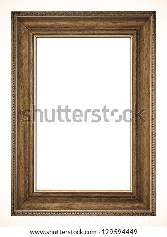 Old picture frame on white background - stock photo