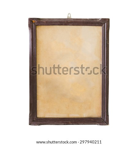 old Picture frame wood stack isolated on white background. - stock photo