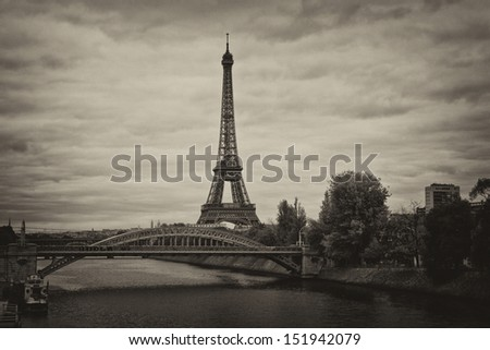 Old picture of Eiffel tower - stock photo