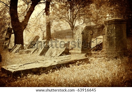 old picture vintage graveyard; art background - stock photo