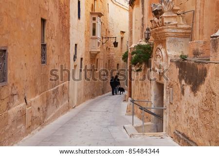 Old picturesque street of Mdina. Malta - stock photo