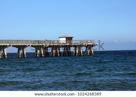 Old pier on Pompano Beach, Fort Lauderdale, Florida, USA