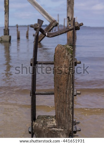 Old Pier Ruins ,Colonia del Sacramento, Uruguay - stock photo