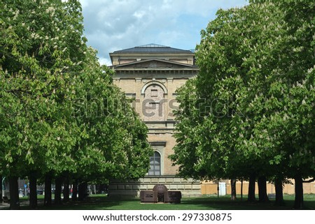 Old Pinakothek with Chestnut Trees as Cultural Symbol in Munich - stock photo