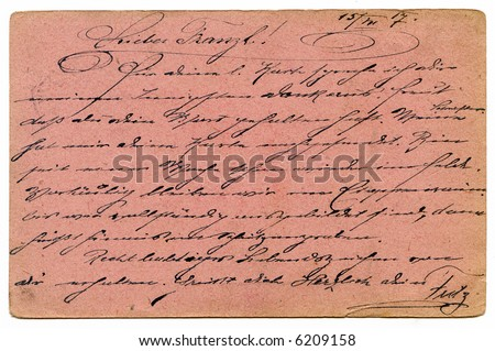 Old pink grunge calligraphy from on a army postal service card 1917 - stock photo