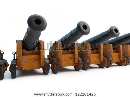 Old pirate cannons on a white background