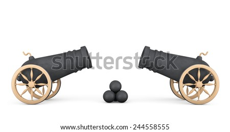 Old Pirate Cannons on a white background - stock photo