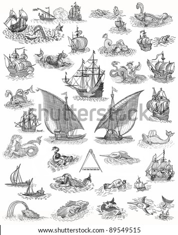 Old pirate map icons - stock photo