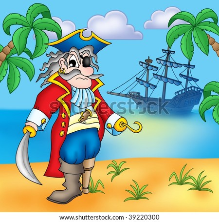 Old pirate on beach - color illustration. - stock photo