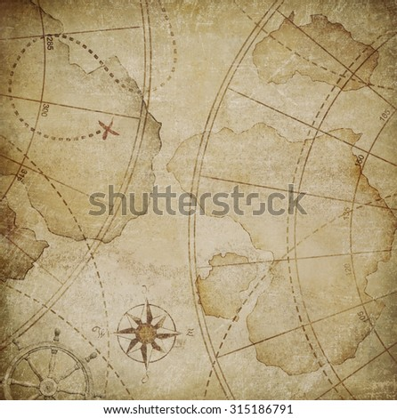 old pirates map illustration - stock photo