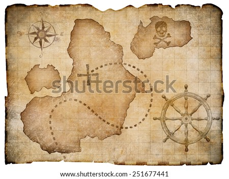 Old pirates parchment treasure map isolated. Clipping path included. - stock photo