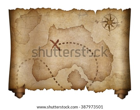 old pirates treasure map isolated - stock photo