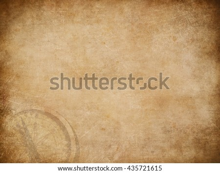Old pirates treasure map with compass background - stock photo
