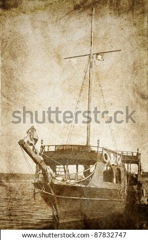 Old piratical frigate. Photo in vintage image style. - stock photo