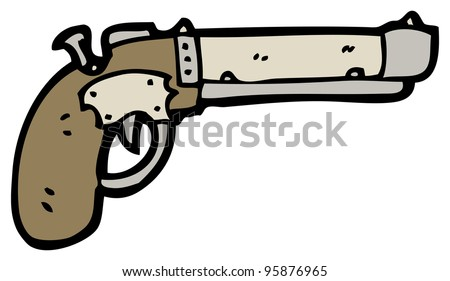 old pistol cartoon - stock photo