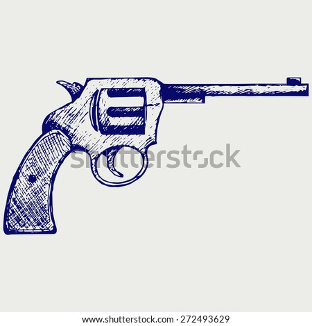 Old pistol. Doodle style. Raster version - stock photo
