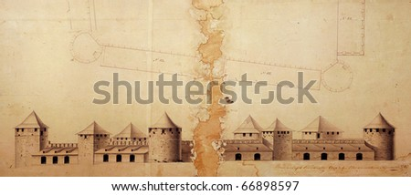 Old plan of Bender fortress osman period 1750