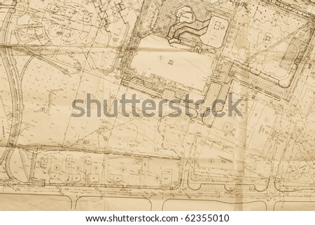 old plan of city - stock photo