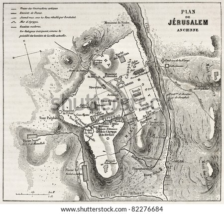 Old plan of Jerusalem. Created by Villemin after Gerardy, published on Le Tour du Monde, Paris, 1860 - stock photo
