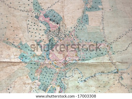 Old plan of town, color drawing - stock photo