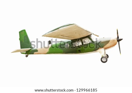 Old plane at museum isolate on white - stock photo