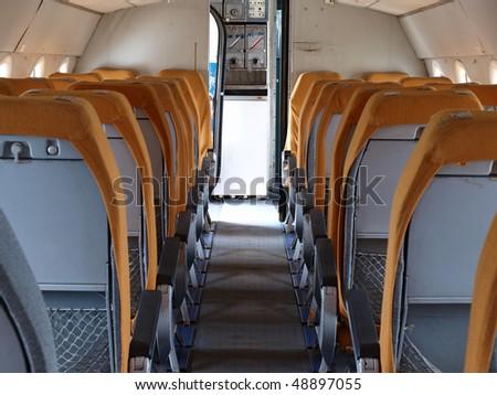 old plane interior - stock photo