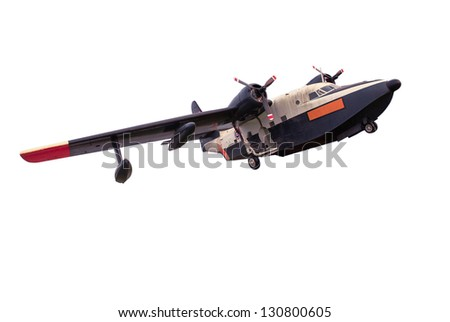 Old plane isolated on white - stock photo