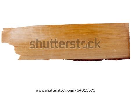 Old plank of wood. Isolated on white background. - stock photo