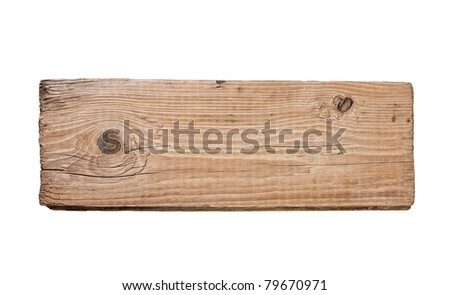 Old plank of wood  isolated on white background - stock photo