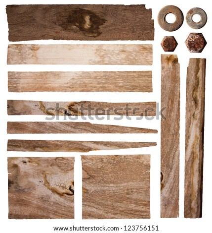 Old plank of wood isolated on white background, Save Paths For design work