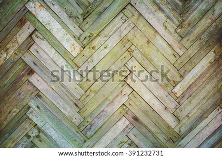 Old planks wooden wall background - stock photo