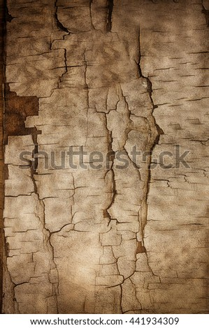 Old plastered wall with rough cracks. - stock photo