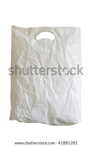 old plastic bag is on white background