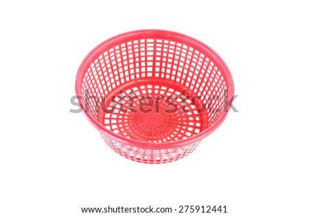 Old plastic basket on a white background - stock photo