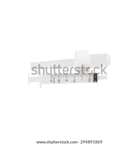 old plastic syringe for children's medicine isolated on white background, with clipping path - stock photo