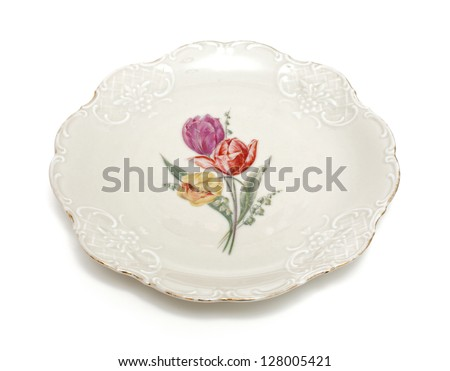 old plate isolated on white background