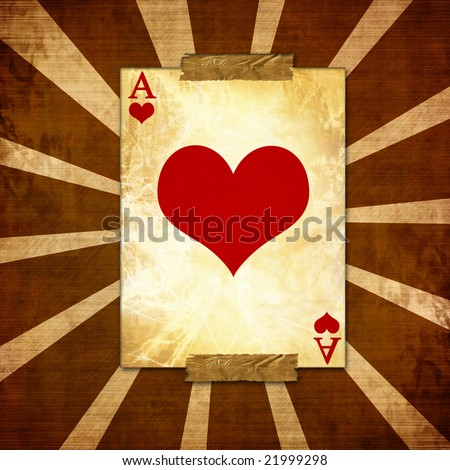 old playing card on a vintage background