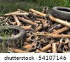 Old pneumatics with rusty rods - stock photo