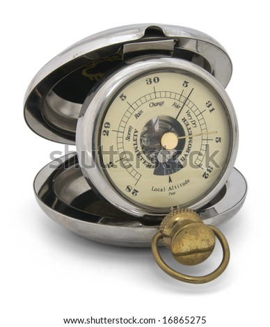 Old pocket barometer altimeter, handle points at fair weather. Closeup, isolated - stock photo