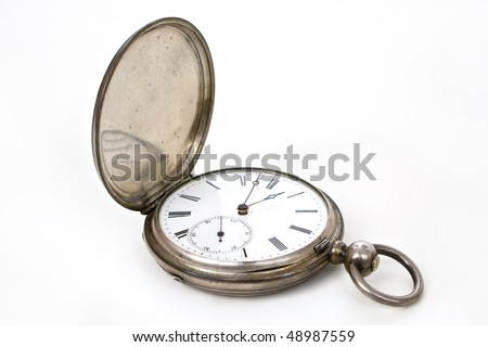 old pocket silver swiss watch on white - stock photo