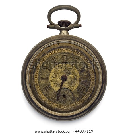 old pocket watch by the time (isolated with clipping path) - stock photo