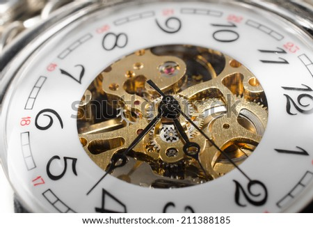 old pocket watch hourglass - stock photo