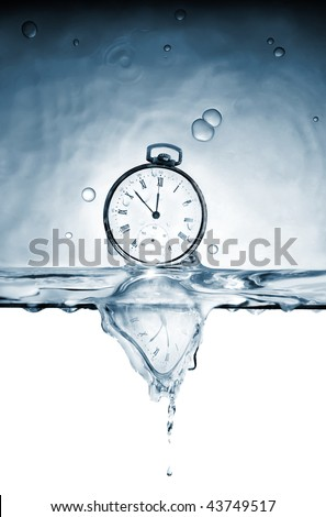 Old pocket watch in the deformed reflexion of time in water - stock photo