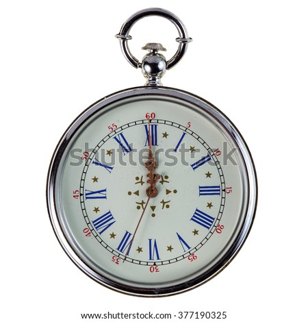 old pocket watch isolated on white background - stock photo
