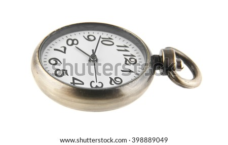 old pocket watch isolated on white background closeup - stock photo