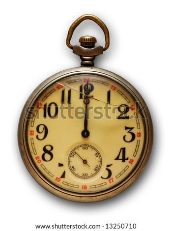 Old pocket watch, isolated on white background with soft shadow - stock photo