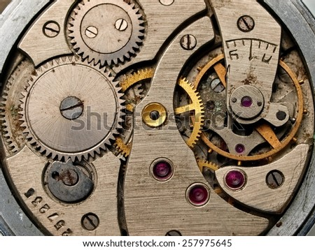 Old pocket watch machinery, close up