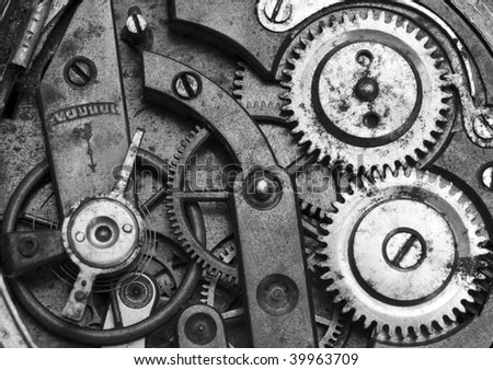 Old pocket watch mechanism - stock photo