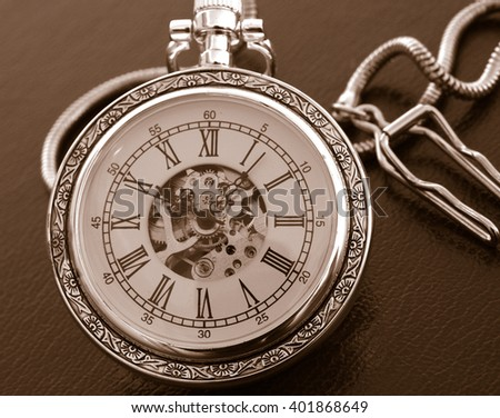 old pocket watch monochrome image - stock photo